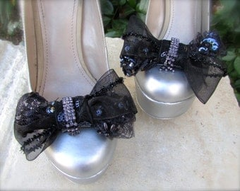 Wedding Shoe Clips black elegant bow