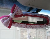 Rearview Mirror Cover Bow, Custom Lace Rear View Mirror Cover with Bow BF11248