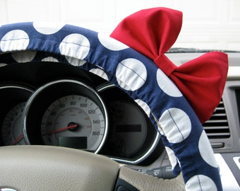 Steering Wheel Cover Bow, In the Navy Blue Polka Dot Steering Wheel Cover with Red Bow BF11205