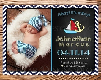 Birth Announcement, Photo, Baby Announcement, BOY, GIRL, Nautical, Anchor, Boat, Chalkboard, Chevron Stripes Birth Announcement, Boy -C9
