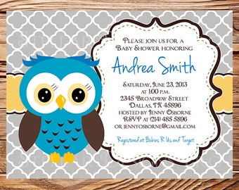Owl Baby Shower Invitation, Quatrefoil, Baby Shower Invite, Boy, Girl, Blue, Blue, Pink, Chevron Stripes, Yellow, Green, Yellow, 1453