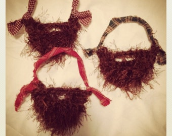Fuzzy Beard Ornament, Christmas Tree Ornament, Brown