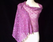 Hand knitted women's hand dyed luxury silk and merino shawl / wrap. OOAK