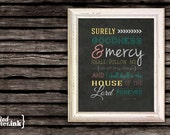 Wall Art - Surely Goodness (teal, melon, gold, gray) Psalm 23:6 - 8 x 10 Print