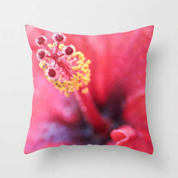 Red Hibiscus Decorative Pillow : Red Hibiscus Tropical Pillow Cover Red Throw by LongForgotten