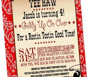 Western Cowboy Party Invitation-Printed