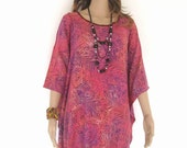 Purple Peach Beach Bali Batik Top Tunic Kaftan Caftan Poncho Dress Blouse Loungewear Cover Up Bridesmaids Bridal Wedding Plus Size 3X 4X 5X