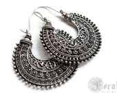 Tribal Hoops in Silver for the Gypsy Fusion Belly Dancer. Bohemian Statement Earrings.