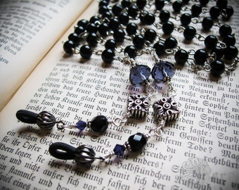 Gothic Rosary Eyeglass or Glasses Chain. Red, Purple or Black Crystals. Morbid Librarian Chic.