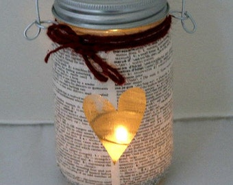 Bookworm Mason Jar Lantern Geek Nerd Chic Dictionary Pages Outdoor Lighting National Library Week Valentine's Day Gift
