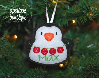 INSTANT DOWNLOAD, Machine Embroidery Design, In The Hoop, Penguin Christmas Ornament with Instructional PDF