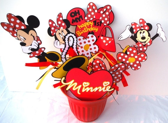 Minnie mouse red with dots themed party centerpiece sticks set
