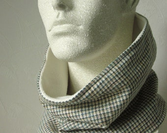 Silk Infinity  Man Scarf Olive Green Multi Plaid Check Raw Silk Suiting Lined in Cream Fleece by Thimbledoodle