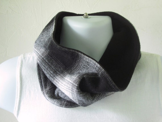 Mens Scarf Business Man Neck Warmer Reversible Black and White Cotton  Mens Cotton Neck Scarves