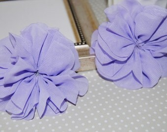 "2 Lavender Flowers Chiffon Fabric Flowers DIY hat brooch hair flowers 3""  Lotus Twirl pleated Ballerina Lotus flowers applique (2 pcs)"