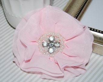 Light Pink Fabric Flowers - 3.5' soft chiffon and sheer layered fabric flowers with rhinestone pearl centers Hair hat boutique flowers Lorna