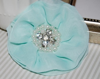 Mint Fabric Flowers - 3.5' soft chiffon and sheer layered fabric flowers with rhinestone pearl centers Hair hat boutique flowers Lorna