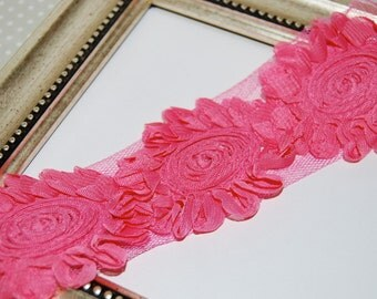"Dark Rose Pink SWIRL Flower Rose Trim Chiffon Swirl Rosette Flower trim 2.5"" inch 6cm Pink Sunflowers Solid vintage Trim -1/2 yard or 1 yard"