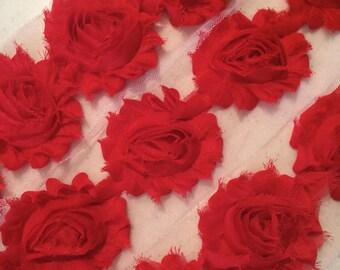 "RED Shabby Rose Trim 2.5"" Shabby Flowers Shabby Chiffon Flowers - Solid Shabby Chic Trim Wholesale Rosette trim 6cm 1 yard red trim  #302"