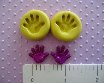 BABY handprints hands handprint mold flexible silicone food grade for fondant resin or hard polymer clay mold