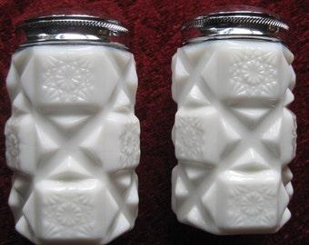 Westmoreland Old Quilt Salt and Pepper Milk Glass Vintage