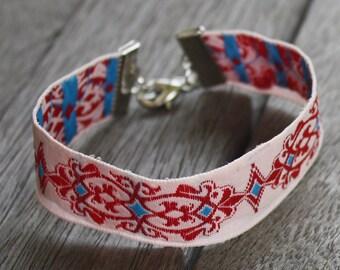 Embroidered Ribbon Bracelet - White, Red, Light Blue - Silver, stacking bracelet, gypsy bracelet, adjustable, boho bracelet, boho cuff