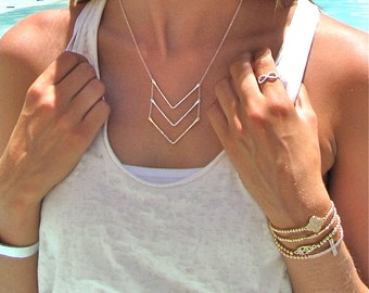 Silver Triple Chevron Necklace - Gold Chevron Necklace - Silver Chevron Necklace