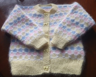 """Angora Scottish Hand knit Baby Lumber Jacket / Sweater  22"""" chest suitable for ages 12 months to 24 months"""