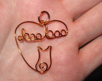 Wire Wrapped Cat's Name Heart Pendant MADE to ORDER