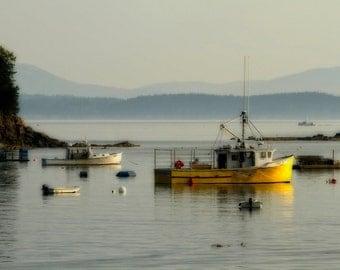 Lobster Boats, Bar Harbor Photography, Scenic Maine, Rustic Photograph, Maine Coast, Morning Light, Frenchman Bay, Art Print, 20X30