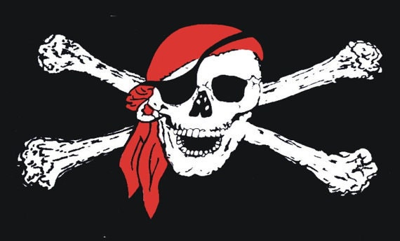 2 Color Pirate Skull & Cross Bones Long Sleeve T-Shirt