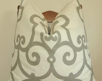 Pillow Cover, Throw Pillow, Toss Pillow, Accent Pillow, Schumacher, Manor Gate, Charcoal Gray, Gray Trellis, Home Furnishing, Home Decor
