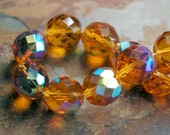 10mm Czech Beads Faceted  in AB Gold Honey -10