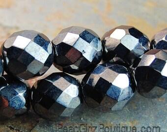 12mm Hematite Faceted Round Czech Glass Beads   -8