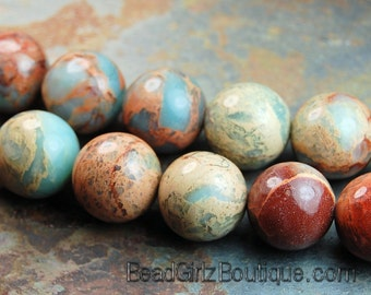 Serpentine Jasper Beads 6mm round -15.5 strand