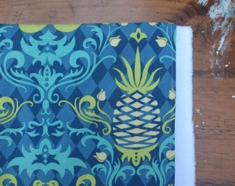 Baby Blanket for Girl -  Birdie Damask and Pineapple Print with White Faux-Chenille Backing