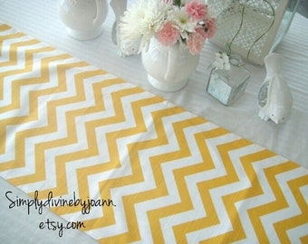 Yellow CHEVRON Table Runner 12X72, Wedding Table Topper, Table Cover, Available In different Lengths