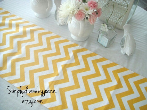 runner  Yellow  table yellow Table Cover Table CHEVRON Table Runner, Wedding wedding Topper,