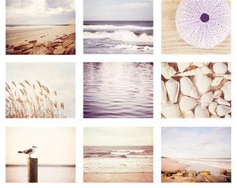Beach Photo Set - 9 11x14, 8x10, 5x7 Photographs, pale photography cream purple light lavender white ocean wall art set sea seashore print