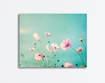 "Flower Canvas Wrap - floral blue pink photography pastel wall art light canvas print pale white aqua - 24x30 Photograph, ""Beauty Upon Us"""