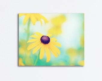 """Flower Canvas Photography - yellow turquoise aqua teal black nature canvas gallery wrap floral print colorful wall art white, """"Cheerful"""""""