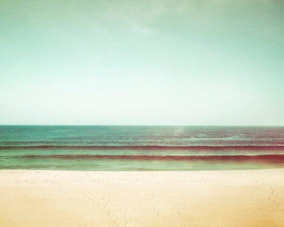 "Beach Photography, mint green turquoise ocean sea coastal wall art teal beige peach blue green, 16x20, 11x14, 8x10 Photograph, ""Tranquility"""