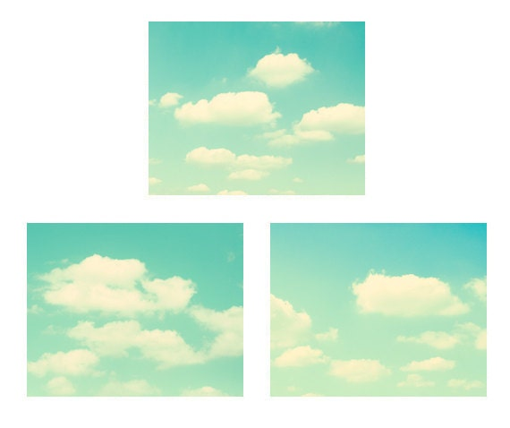 Cloud Photography - Set of 11x14, 8x10, 8x8 prints - turquoise decor sky teal nursery art blue green mint photograph gallery wall art print