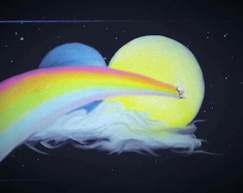 Meditation Rainbow Shooting Star oil paint 17cm x 27cm