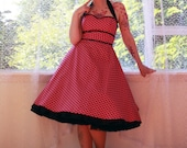 Rockabilly 'Dylan' Pink Polka Dot Halterneck Dress with Black Cotton Trim and Black Ric Rac Trim - All Colors - Custom made to fit