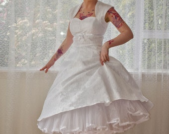 "1950's ""Nancy"" White Wedding Dress with a Sweetheart Bodice, Lace Overlay, Ribbon Trim, Tea Length Skirt and Petticoat - Custom made to fit"