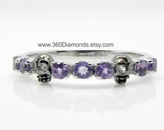 Tiny Skull Ring - Skull Wedding Ring -  Amethyst and White Sapphire Eyes - Skull Engagement Ring - 14K Gold Skull Jewelry