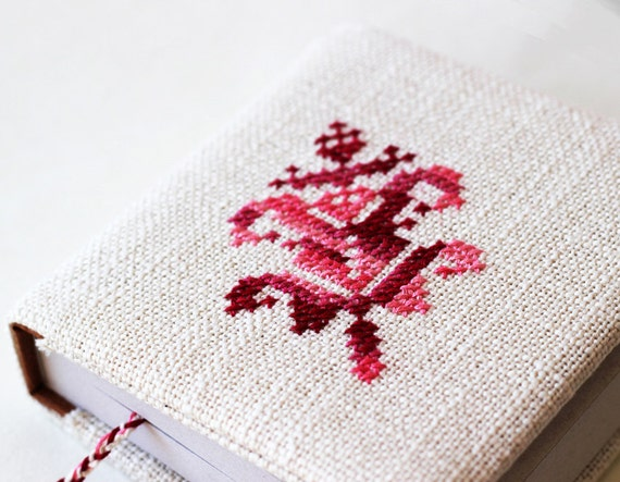 Notebook - Fabric covered notebook - Hand embroidered - Milky white and pink - Gift for her - Christmas - Mothers Day - Rustic - OOAK