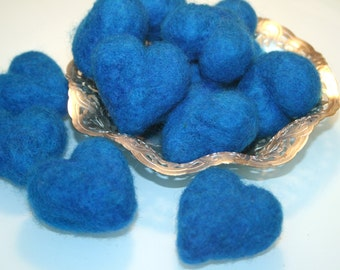Needle Felted Hearts - TWELVE Gorgeous Peacock Blue Wool Hearts - Ready To Ship