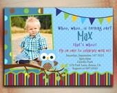 Owl Birthday Invitation, Litlle Owl Birthday Invitation, Owl Boy Birthday Invitation-Digital File You Print